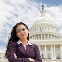 Woman Standing in Front of Capitol Building