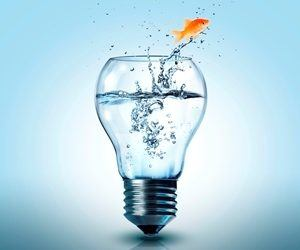Fish Jumping Out of Light Bulb