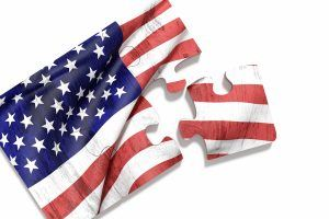3d rendering of close-up of puzzle set with american flag print on white background. Isolated