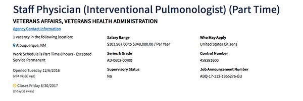 Staff Physician Salary Screenshot