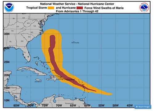 NOAA Hurricane Maria Map